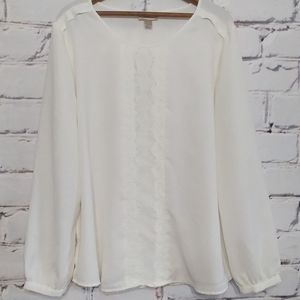 LOFT Factory Ivory LS Blouse With Lace Panel XL